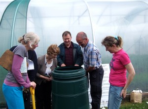 Compost demonstration with Aoife Valley & Cordelia Nic Fhearraigh at Na Tithe Gloine, Cill Ulta on Saturday 2nd July. The compost bin shown is one of those on sale from Donegal County Council at €13.00 each.